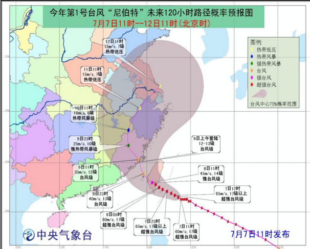 """厦门市气象台发布台风""""尼伯特""""最新动态"""
