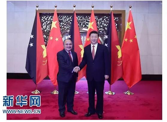 7月7日,国家主席习近平在北京钓鱼台国宾馆会见巴布亚新几内亚总理奥尼尔。 新华社记者 张铎 摄
