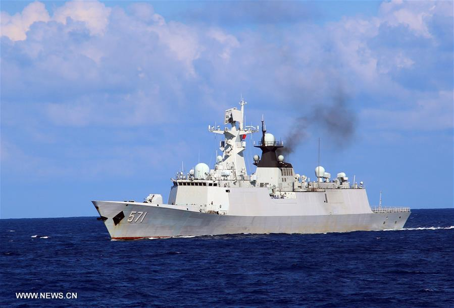 Chinese navy conducted an annual combat drill in the water area near south China