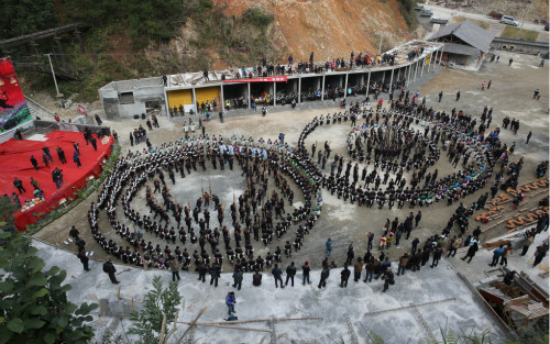 2015年12月25日,贵州省榕江县乐里镇侗族同胞吹芦笋踩歌堂闹侗年