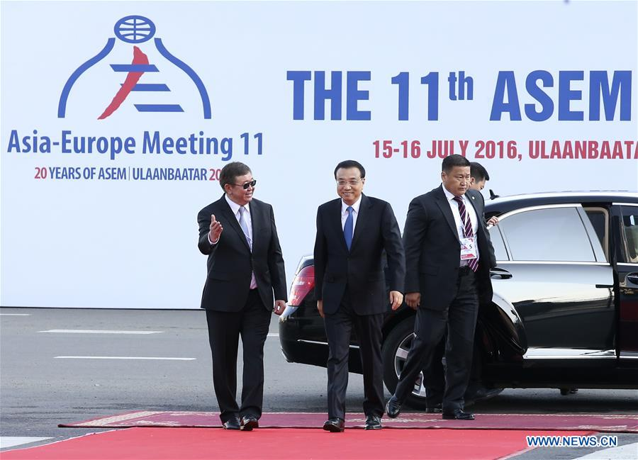ULAN BATOR, July 15, 2016 (Xinhua) -- Chinese Premier Li Keqiang (2nd L) attends the 11th Asia-Europe Meeting (ASEM) Summit in Ulan Bator, capital of Mongolia, on July 15, 2016. (Xinhua/Pang Xinglei)