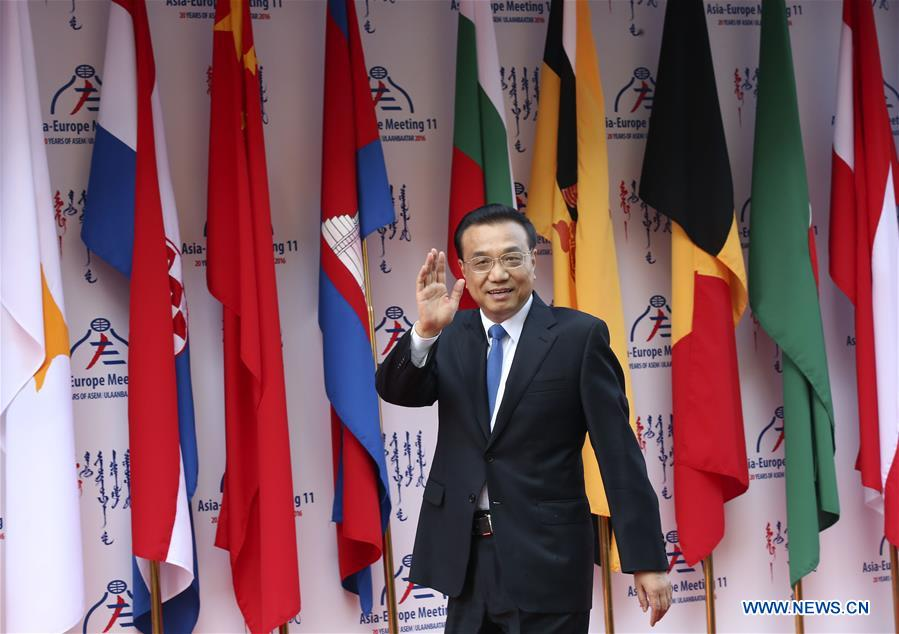 ULAN BATOR, July 15, 2016 (Xinhua) -- Chinese Premier Li Keqiang attends the 11th Asia-Europe Meeting (ASEM) Summit in Ulan Bator, capital of Mongolia, on July 15, 2016. (Xinhua/Pang Xinglei)