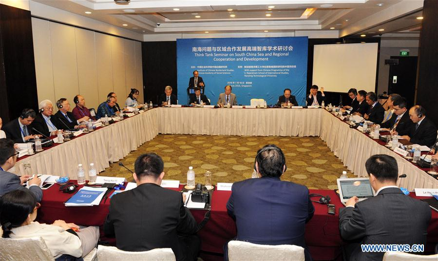 SINGAPORE, July 18, 2016 (Xinhua) -- Photo taken on July 18, 2016 shows the Think Tank Seminar on South China Sea and Regional Cooperation and Development held in Singapore. Organized by the Institute of Chinese Borderland Studies, Chinese Academy of Social Sciences, the seminar attracted more than 20 experts from academic institutes in China and countries in the region, including Singapore, Indonesia, Malaysia and India. (Xinhua/Then Chih Wey)