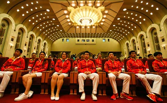 Chinese athletes to participate the 2016 Rio Olympic Games attend the setting up ceremony for the attending Chinese delegation in Beijing