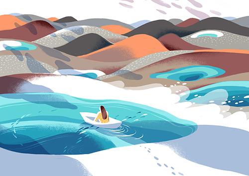 以梦为灵感的创作:沙漠与湖泊