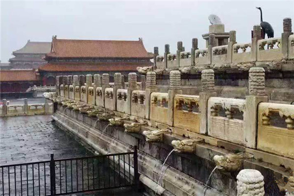 The 600-year-old Palace Museum, or the Forbidden City, remained free of flooding, thanks to its sound - albeit ancient - drainage system.