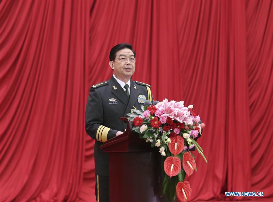 Chinese Defense Minister Chang Wanquan addresses a reception held by the Ministry of National Defense to celebrate the 89th anniversary of the founding of the Chinese People