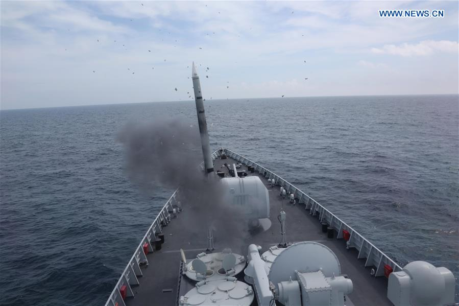 An anti-aircraft missile is launched during a drill in the East China Sea, Aug 1, 2016. The Chinese navy started a drill, which involved firing dozens of missiles and torpedoes, in the East China Sea Monday. The drill involved naval aviation forces, including submarines, ships and coastguard troops. (Xinhua/Wu Dengfeng)