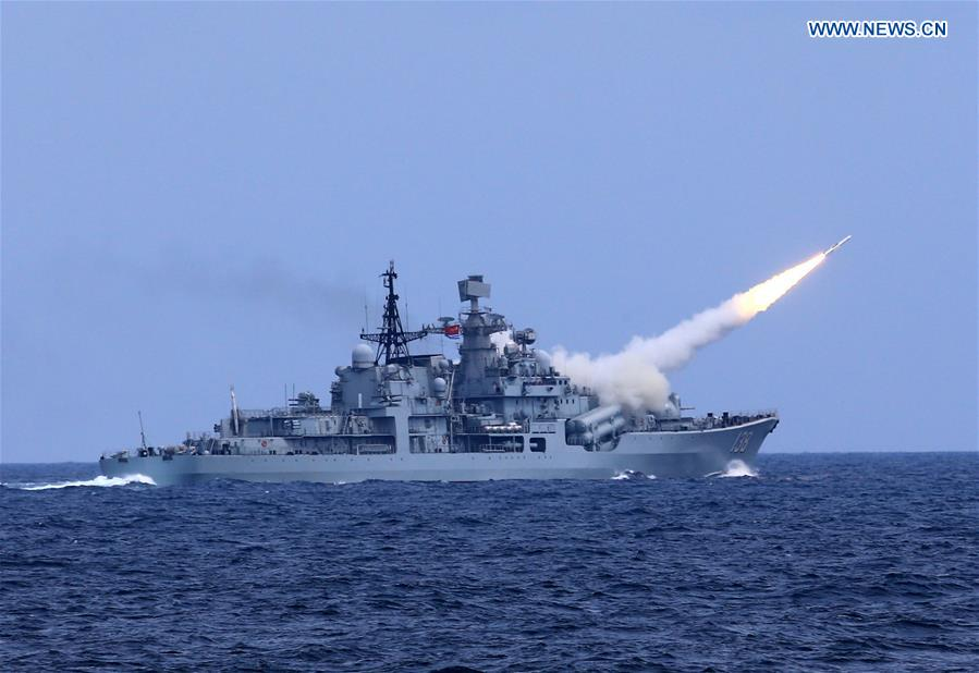 An anti-aircraft missile is launched during a drill in the East China Sea, Aug 1, 2016. The Chinese navy started a drill, which involved firing dozens of missiles and torpedoes, in the East China Sea Monday. The drill involved naval aviation forces, including submarines, ships and coastguard troops. (Xinhua/Dai Zongfeng)