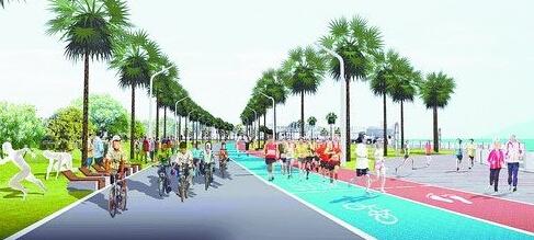 慢行道效果图-环同安湾建马拉松跑道 体育元素融入滨海旅游线高清图片