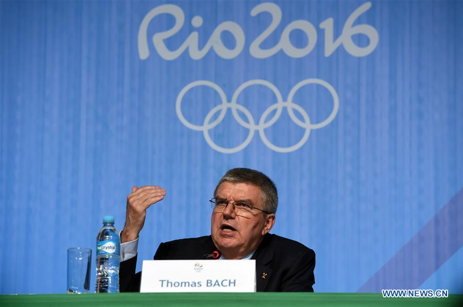 International Olympic Committee (IOC) President Thomas Bach addresses a press conference of 129th IOC session in Rio de Janeiro, Brazil on Aug. 4, 2016. (Xinhua/Han Yuqing)