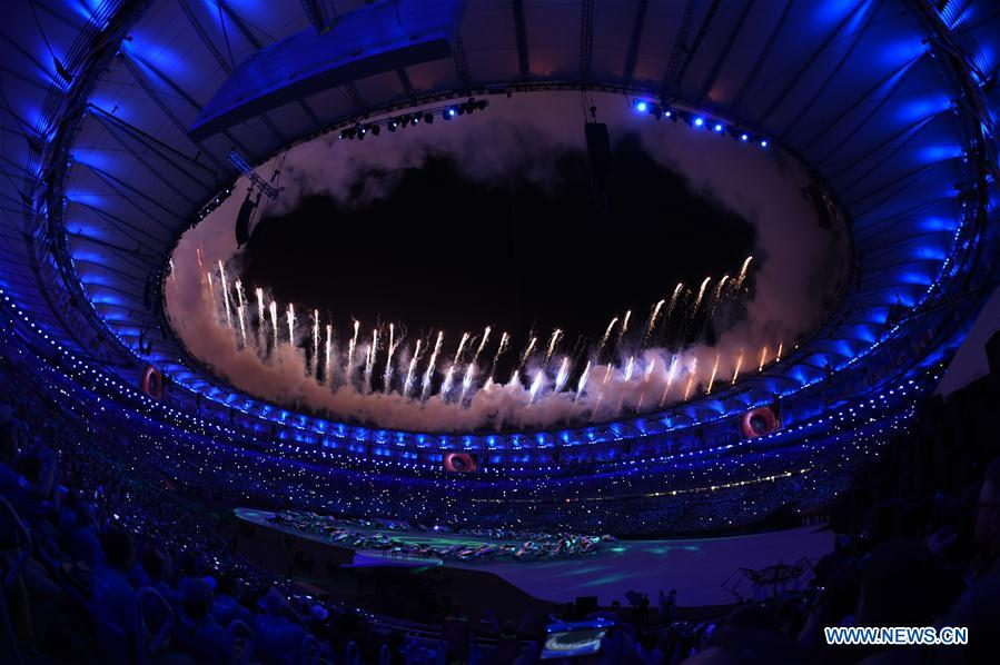 The fireworks is seen over Maracana Stadium during the opening ceremony of the 2016 Rio Olympic Games in Rio de Janeiro, Brazil, Aug. 5, 2016. (Xinhua/Lui Siu Wai)