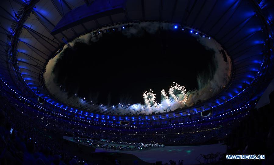 The fireworks show the letters of Rio over Maracana Stadium during the opening ceremony of the 2016 Rio Olympic Games in Rio de Janeiro, Brazil, Aug. 5, 2016. (Xinhua/Lui Siu Wai)