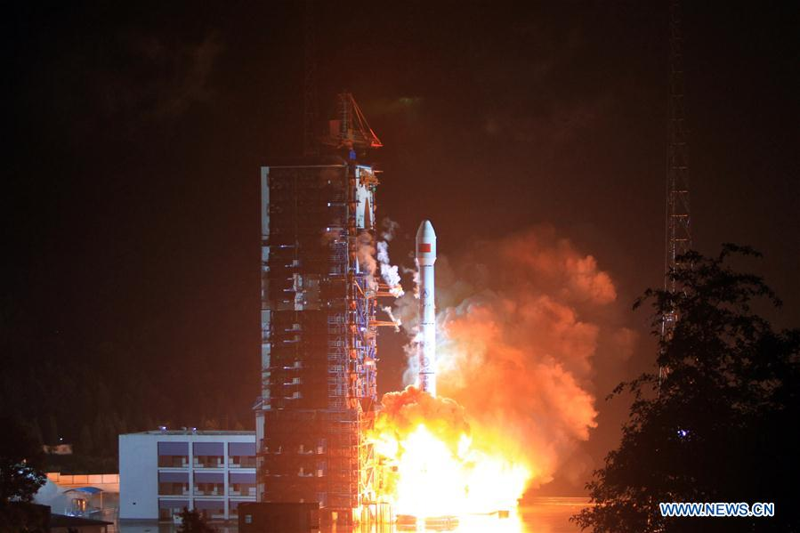 Photo taken on Aug. 6, 2016 shows the Tiantong-01 satellite is launched with the Long March-3B carrier rocket at southwestern China