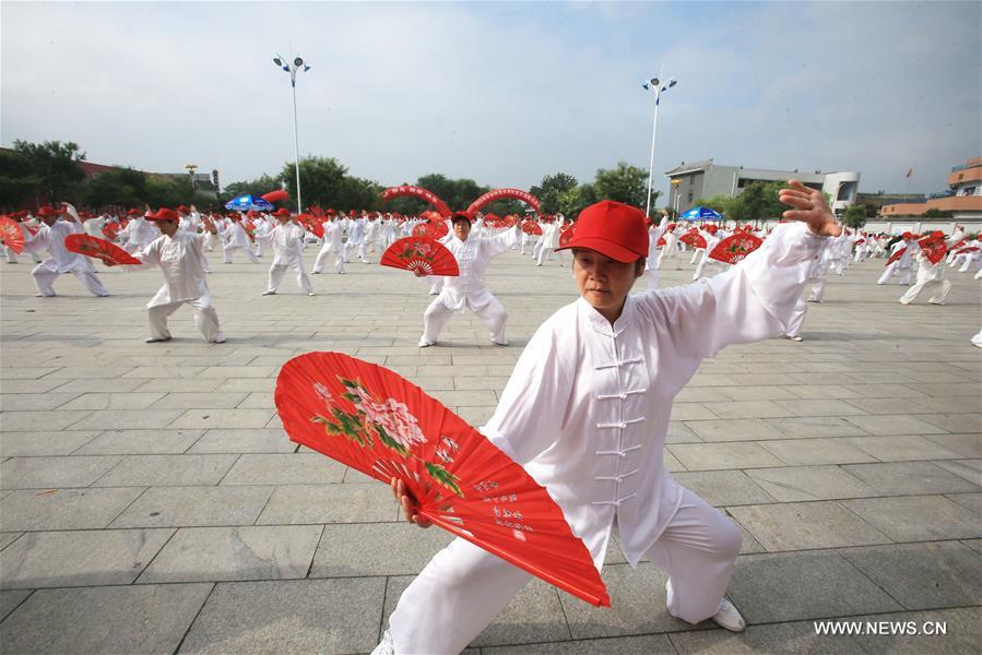 KAIFENG, Aug. 8, 2016 (Xinhua) -- Taichi fan lovers practice at the opening ceremony of an activity to mark the national Fitness Day in Kaifeng, central China