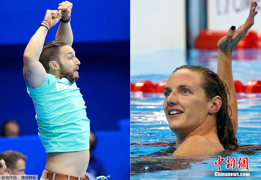 Le 6 août, la nageuse hongroise Katinka Hosszu regarde son entraîneur, qui n