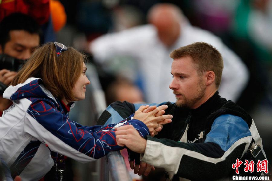 Le champion de tir américain Matthew Emmons et sa femme Katerina. Photo prise aux JO de Londres 2012, Matthew Emmons n