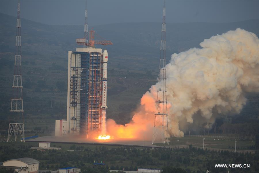A Long March 4C rocket carrying a new high-resolution Synthetic Aperture Radar (SAR) imaging satellite blasts off at the Taiyuan Satellite Launch Center in Taiyuan, capital of north China