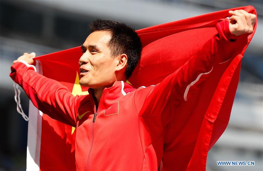 Dong Bin of China celebrates after the final of men