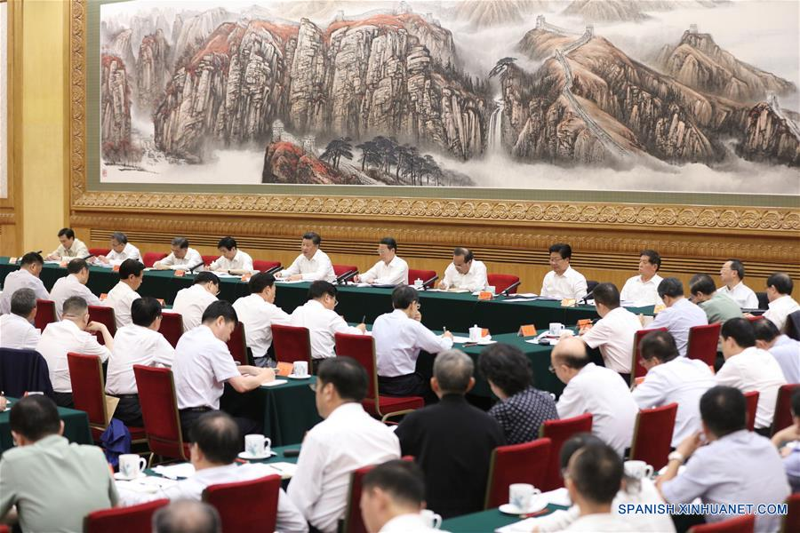 El presidente de China, Xi Jinping, pronuncia un discurso durante un simposio sobre la correa y la Iniciativa de la Ruta en Beijing, capital de China, 17 de agosto de 2016. (Xinhua / Lan Hongguang)