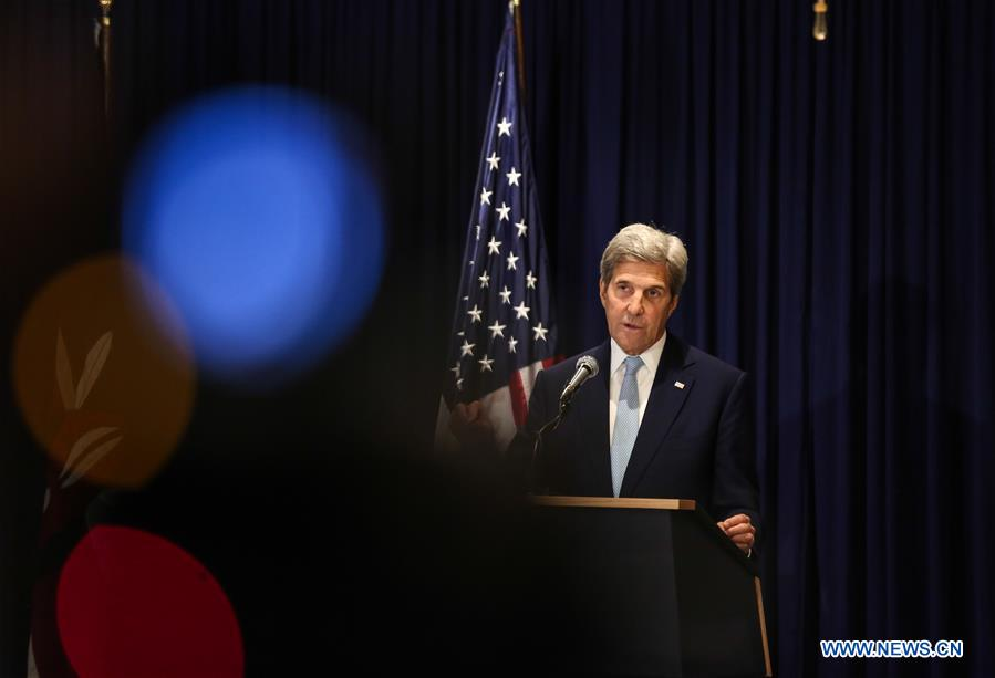 U.S. Secretary of State John Kerry speaks during a press conference in Nairobi, Kenya, Aug. 22, 2016. Foreign ministers from five East African countries and U.S. Secretary of State John Kerry on Monday agreed to move forward with the deployment of a regional protection force in South Sudan, where renewed fighting erupted last month. (Xinhua/Pan Siwei)
