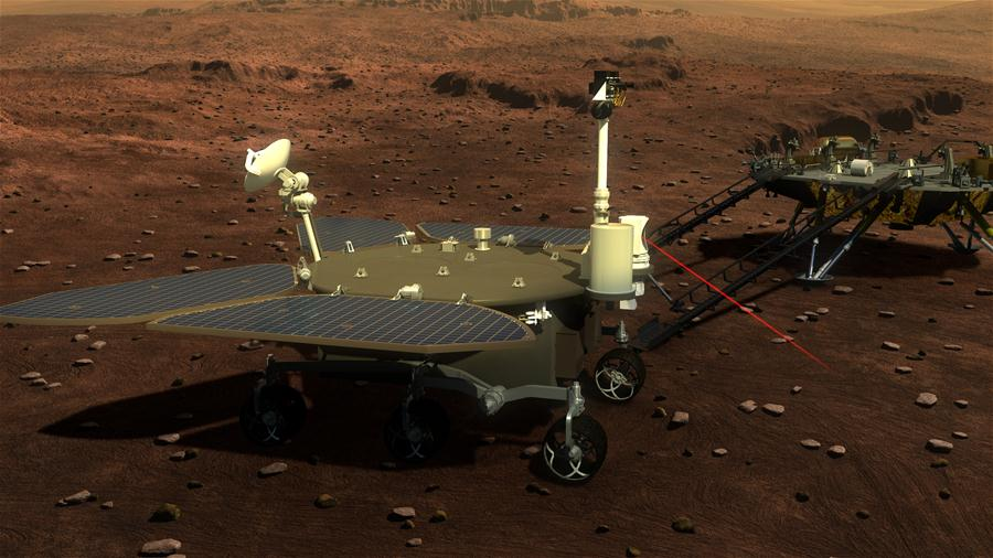 Picture released on Aug. 23, 2016 by lunar probe and space project center of Chinese State Adiministration of Science, Technology and Industry for National Defence shows the concept portraying what the Mars rover and lander would look like. Image of China