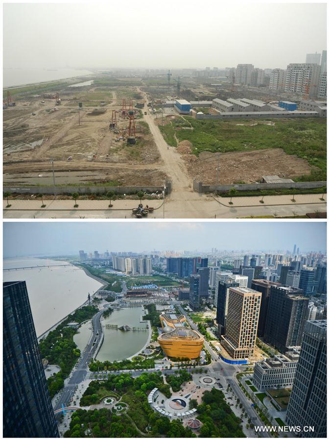 BEIJING, 24 août (Xinhua) -- Le photomontage montre une vue prise en 2002 et une en 2013, de l