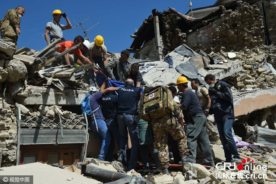 Rescue is underway after a powerful 6.2-magnitude earthquake struck the city of Rieti near the capital city of Rome on August 24, 2016. [Photo: CFP]