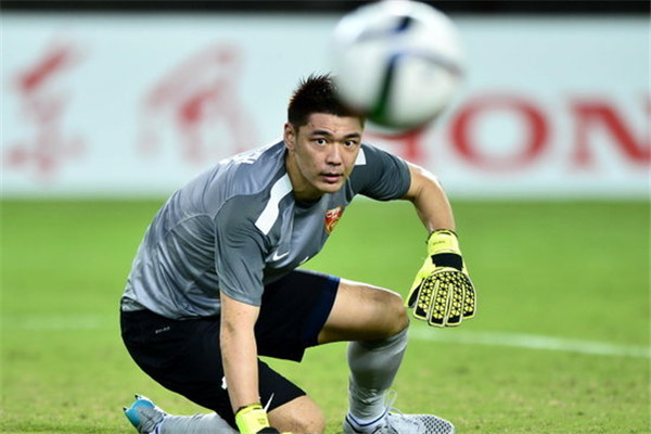 China goalkeeper Zeng Cheng.