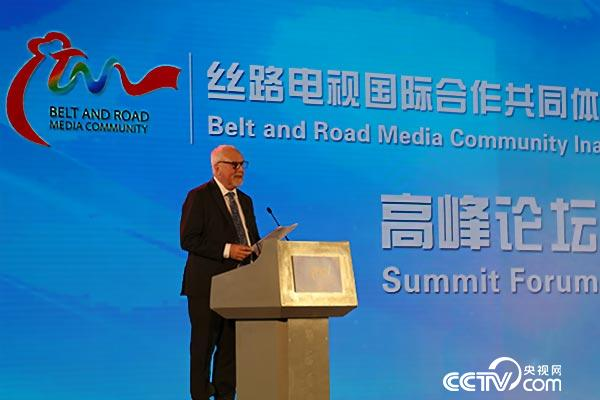 South Africa's Capetown TV director Karen Leigh Thorne gives a speech at the summit forum of Belt and Road Media Community, August 26, 2016.