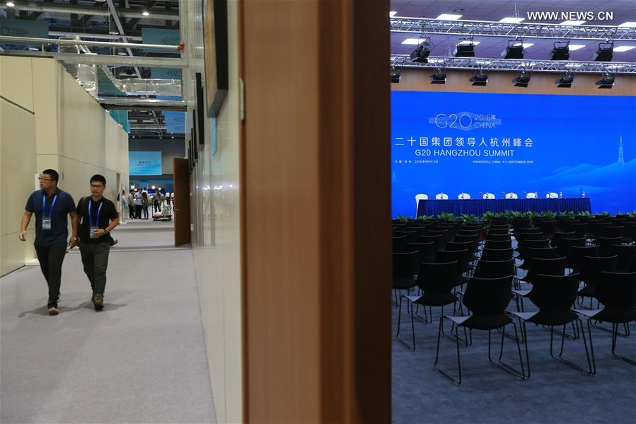 Photo taken on Aug. 31, 2016 shows a press conference hall at the media center of the G20 summit in Hangzhou, capital of east China