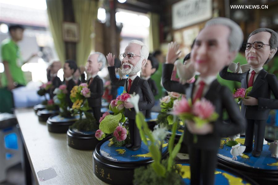 Clay figures featuring the leaders to attend the upcoming G20 Summit are seen in Hangzhou, capital of east China