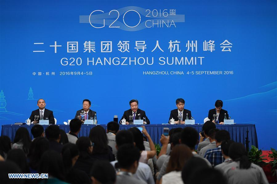 A press conference of the Business 20 (B20) summit is held in Hangzhou, capital of east China