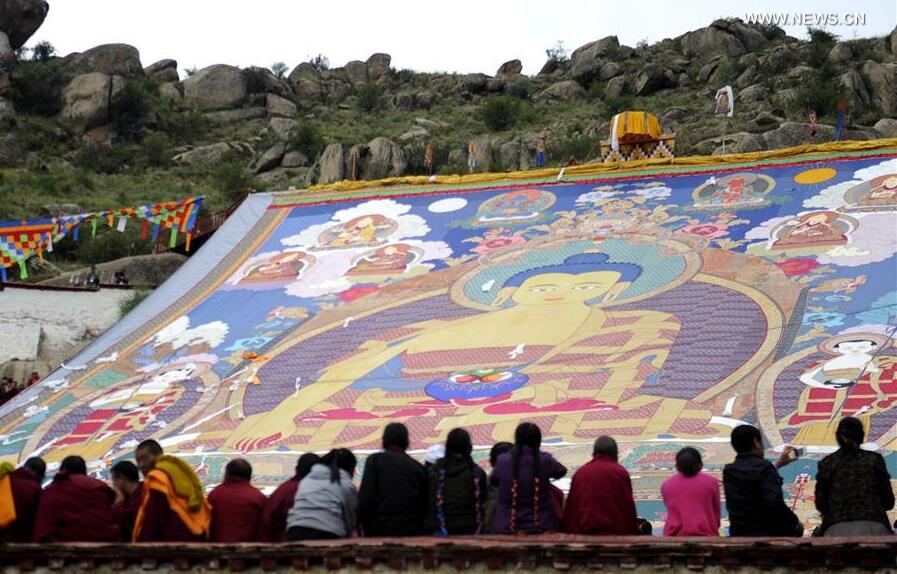 A huge Thangka Buddha portrait is exhibited at Drepung Monastery in Lhasa, capital of southwest China