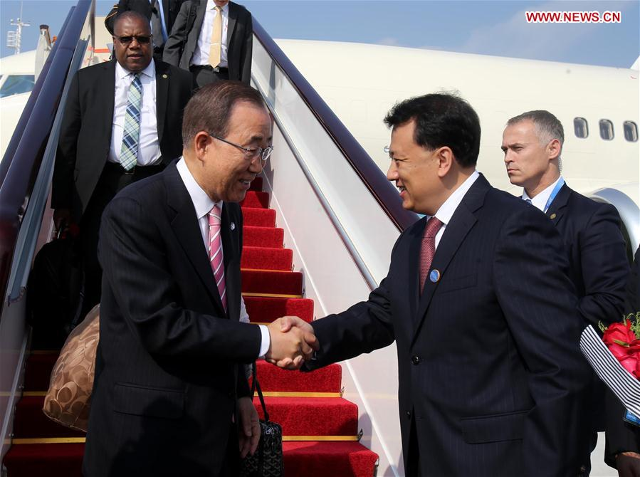 UN Secretary-General Ban Ki-moon (L, front) arrives in Hangzhou to attend the G20 Summit in Hangzhou, capital city of east China