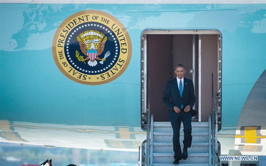 U.S. President Barack Obama arrives for the 11th summit of the Group of 20 (G20) in Hangzhou, capital of east China