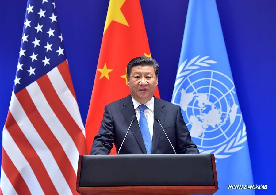 Chinese President Xi Jinping addresses the deposit of China