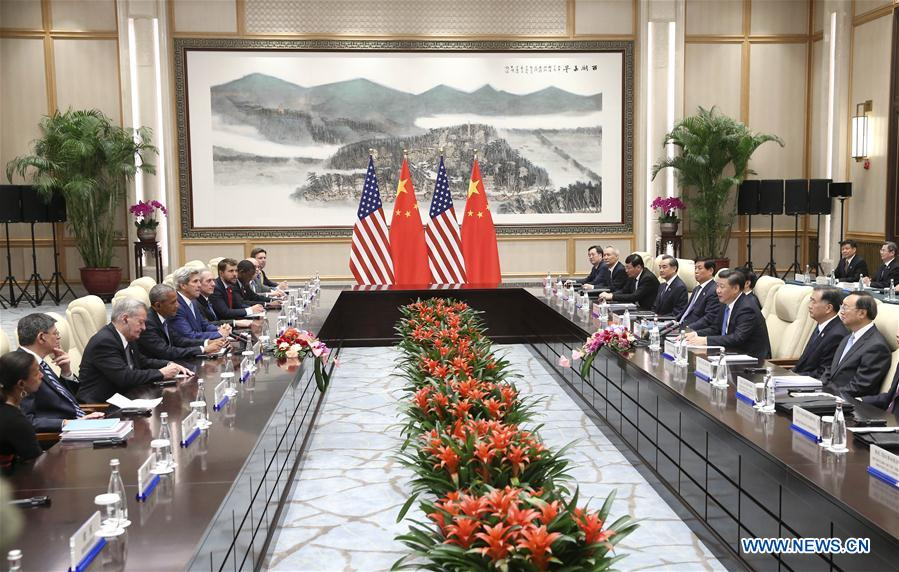 Chinese President Xi Jinping meets with U.S. President Barack Obama, who is here to attend the G20 summit, in Hangzhou, capital city of east China