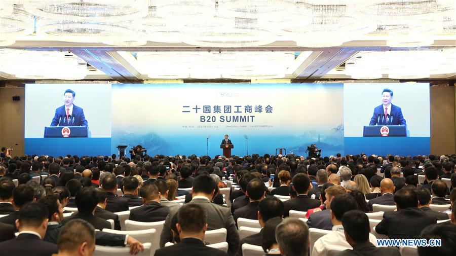 Chinese President Xi Jinping delivers a keynote speech at the Business 20 (B20) summit in Hangzhou, capital of east China