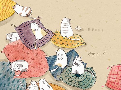 又是一组萌萌的猫咪手绘图,对于爱猫人士来说是怎样都不会错过的.