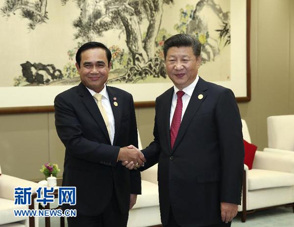 Си Цзиньпин также встретился с присутствующим на саммите G20 премьер-министром Таиланда Праютом Чан-Оча