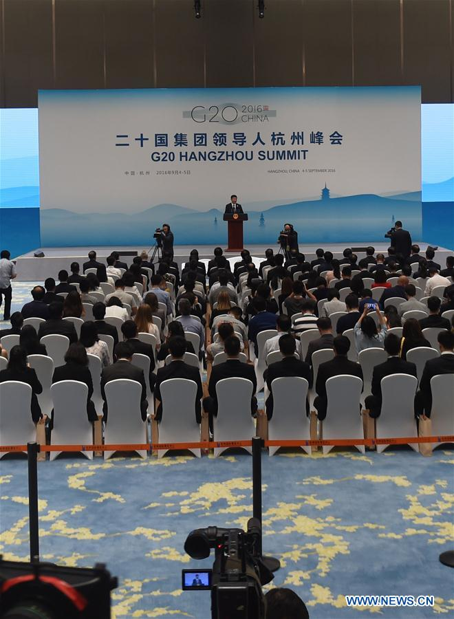 Chinese President Xi Jinping attends a press conference after the 11th summit of the Group of 20 (G20) major economies in Hangzhou, capital of east China