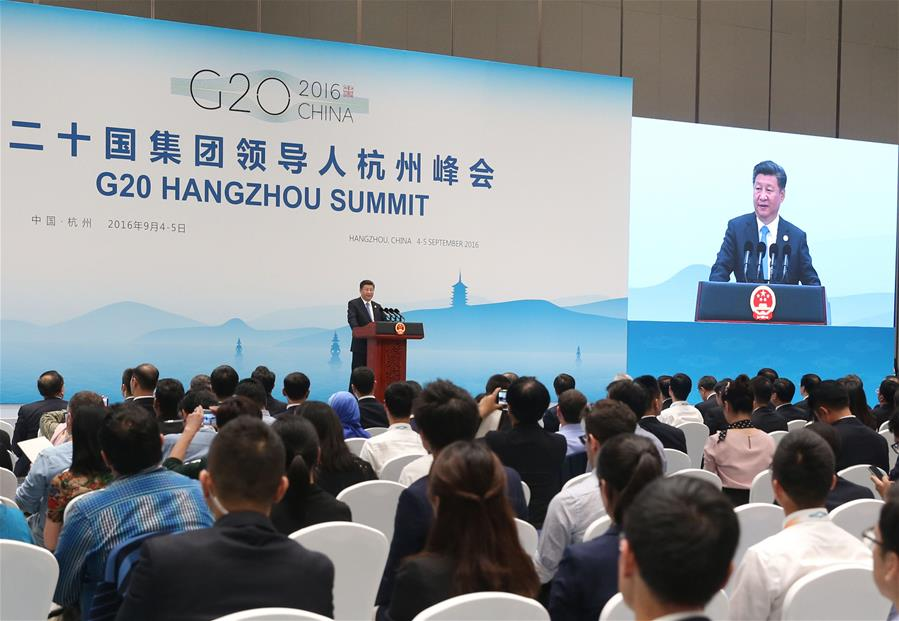 Chinese PresidentXi Jinpingattends a press conference after the 11th summit of the Group of 20 (G20) major economies in Hangzhou, capital of east China