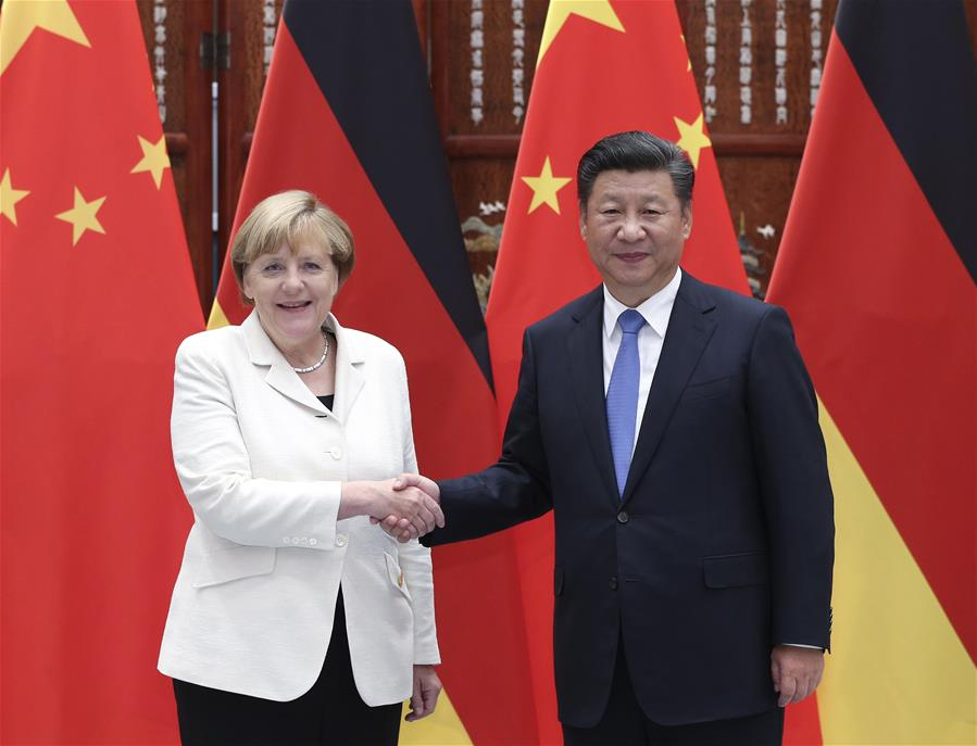 Chinese President Xi Jinping meets with German Chancellor Angela Merkel, who is here to attend the Group of 20 (G20) summit, in Hangzhou, capital of east China