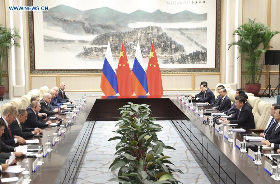 Chinese President Xi Jinping meets with Russian President Vladimir Putin, who is here to attend the Group of 20 (G20) summit, in Hangzhou, capital of east China