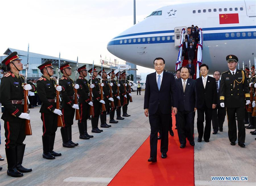 Chinese Premier Li Keqiang arrives in the Laotian capital of Vientiane on Sept. 6, 2016, setting in motion his first official visit to the country, where he will also attend the East Asia Summit. During the visit, Li will also attend the 19th China-ASEAN (10+1) leaders