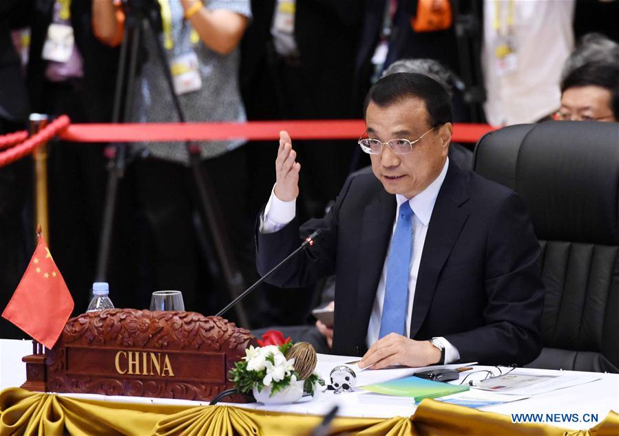 Chinese Premier Li Keqiang attends the 19th summit between China and the Association of Southeast Asian Nations (ASEAN) to commemorate the 25th Anniversary of China-ASEAN Dialogue Relations, in Vientiane, Laos, Sept. 7, 2016. (Xinhua/Rao Aimin)