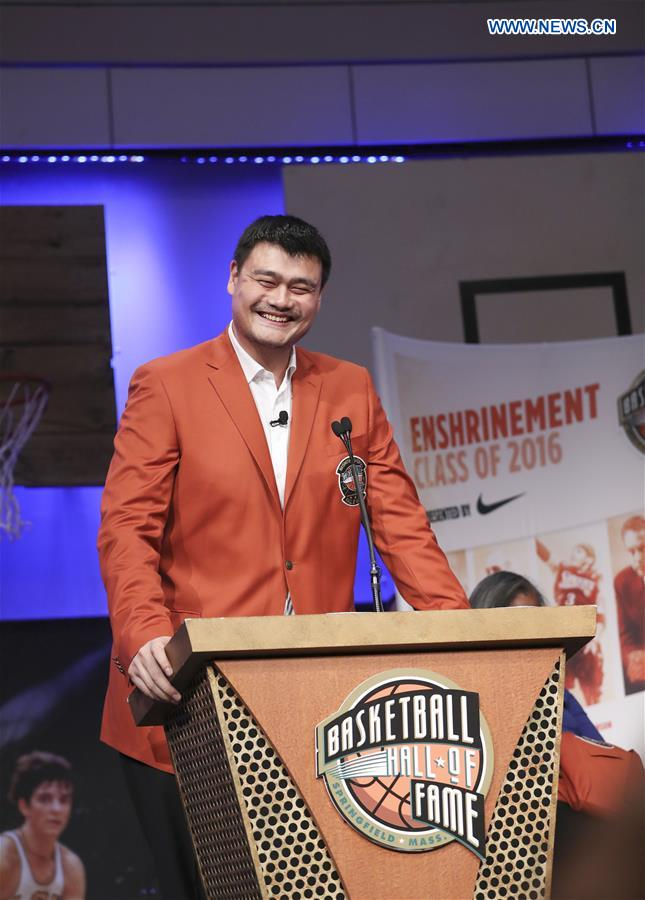 2016 class of inductees into the Basketball Hall of Fame, Yao Ming of China speaks during a press conference at the Naismith Memorial Basketball Hall of Fame, Sept. 8, 2016. Chinese basketball star Yao Ming and his Class of 2016 Hall of Fame made their debut Thursday with orange inductee jackets for the upcoming Enshrinement Ceremony here. The enshrinement ceremony will be held on Sept. 9, 2016. (Xinhua/Wang Ying)