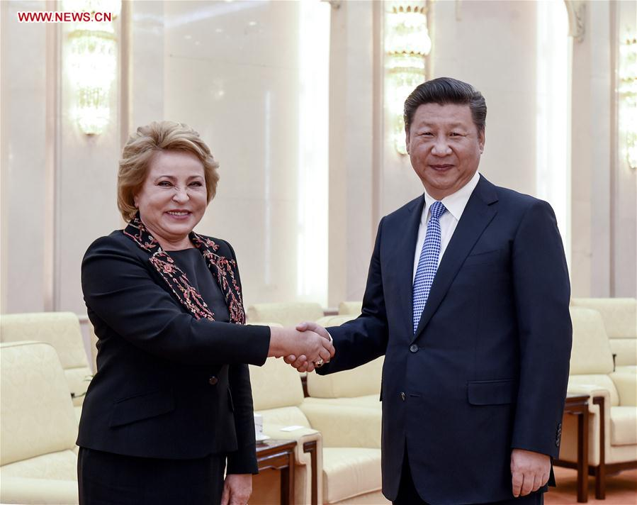 Chinese President Xi Jinping (R) meets with Russian Federation Council Speaker Valentina Matviyenko in Beijing, capital of China, Sept. 9, 2016.