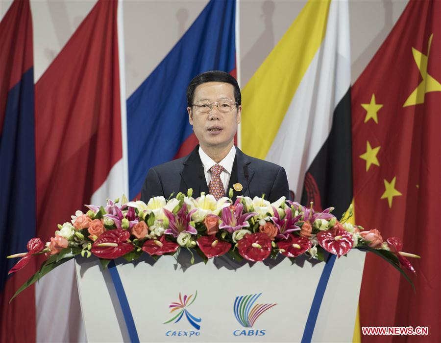 Chinese Vice Premier Zhang Gaoli addresses the opening ceremony of the 13th China-ASEAN Expo and the China-ASEAN Business and Investment Summit in Nanning, capital of south China